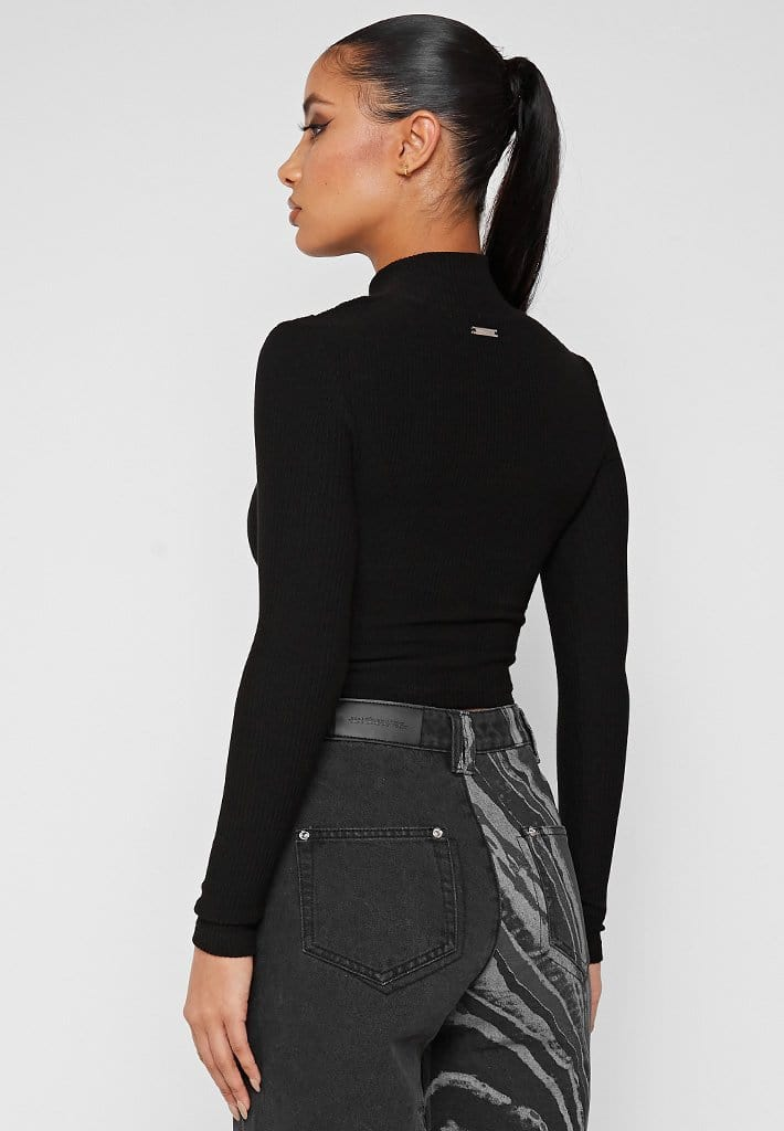 High Neck Ribbed Crop Top - Black