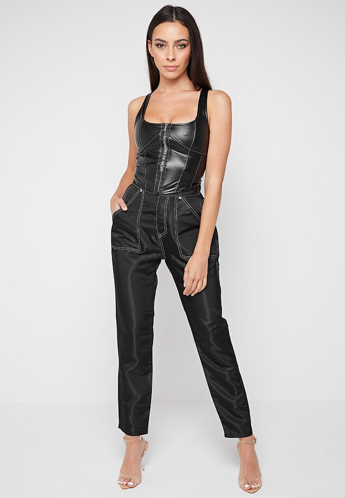 High Shine Contrast Stitch Trousers - Black