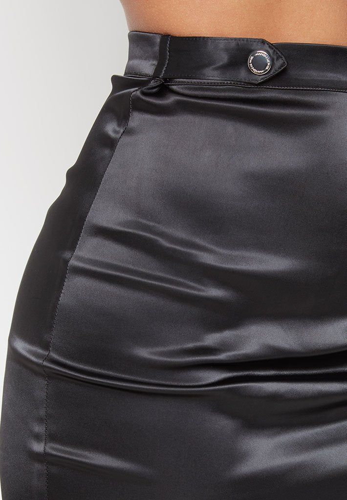 ruched-satin-skirt-black