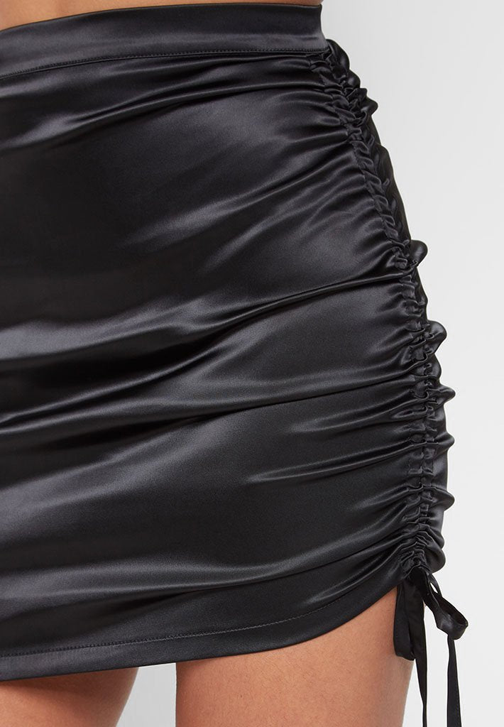 Ruched Satin Skirt - Black