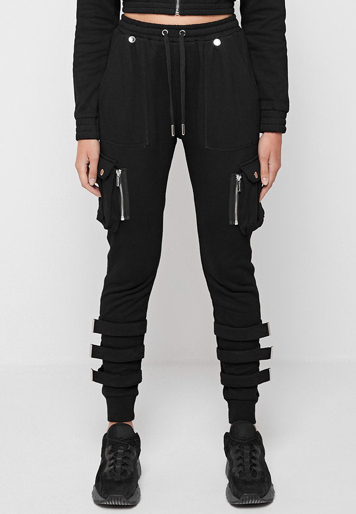 Jersey Cargo Detail Joggers - Black