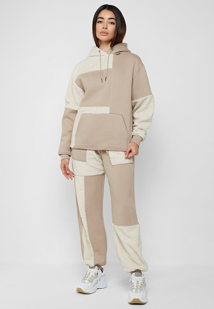 Jersey & Borg Patchwork Joggers - Beige/White