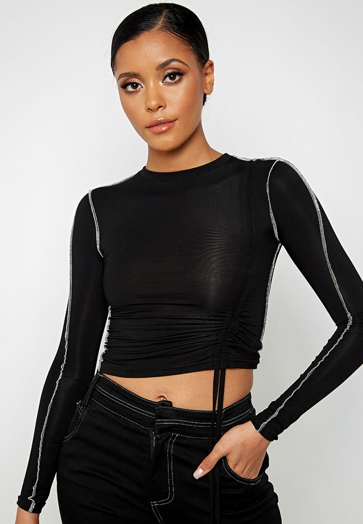 ruched-side-long-sleeve-top-black