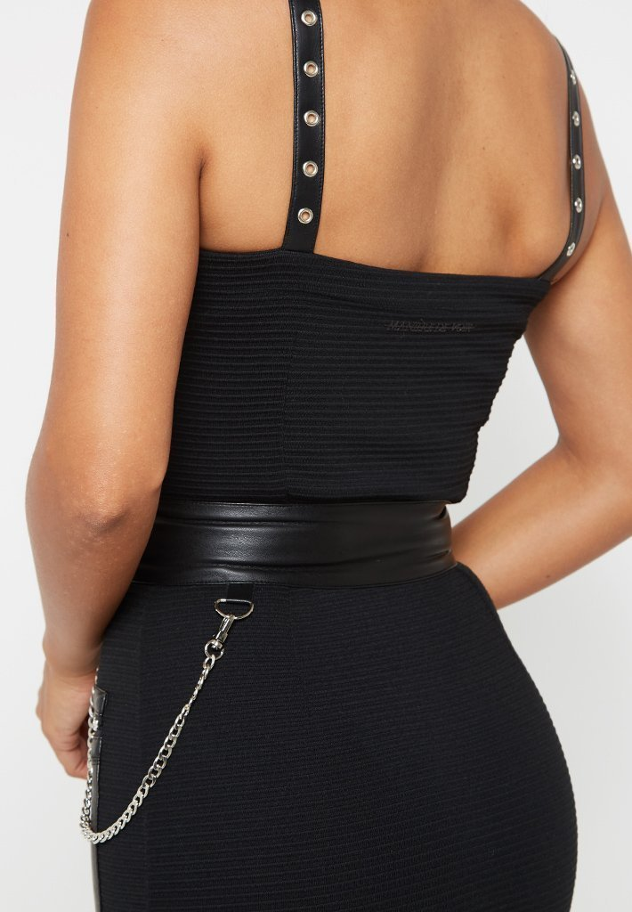 zip-detail-leather-dress-black