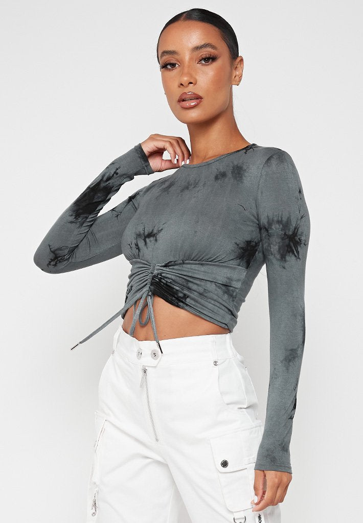long-sleeve-ruched-front-top-grey