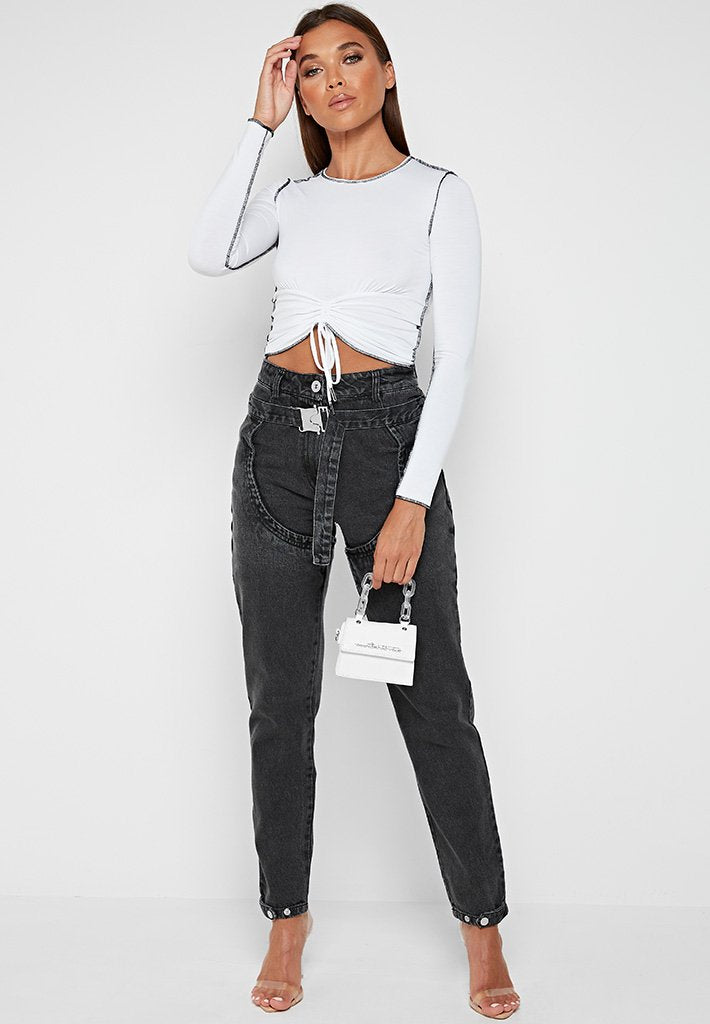 long-sleeve-ruched-front-top-white-black