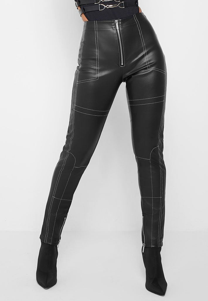contrast-stitch-leather-trousers-black