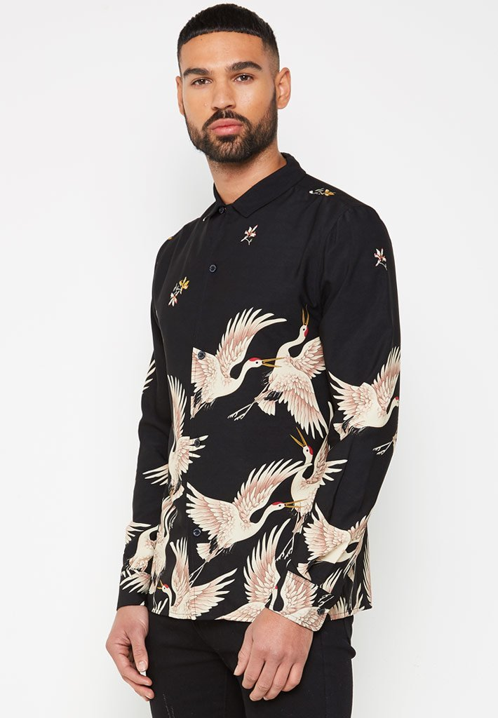 bird-printed-hawaiian-shirt-black