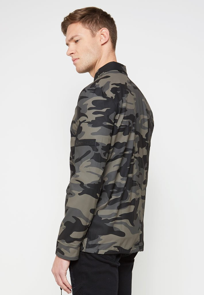 Shirt with Taped Sleeves - Black/Khaki