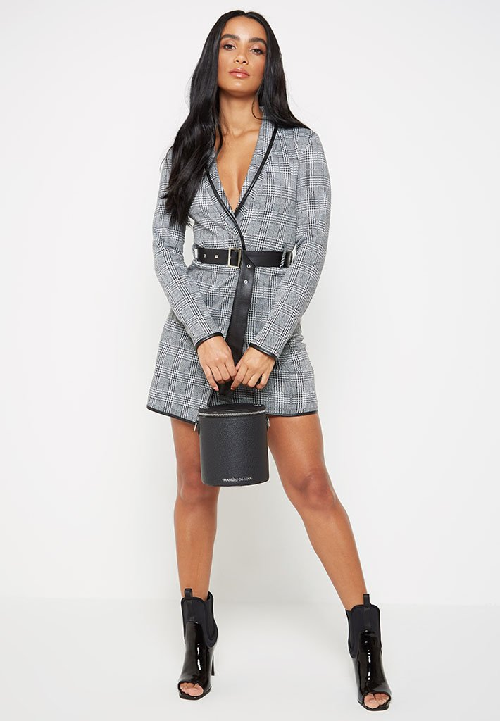 leather-trimmed-check-blazer-dress-black