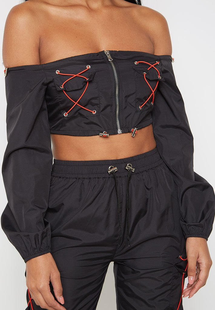 Bardot-Cargo-Toggle-Top-Black