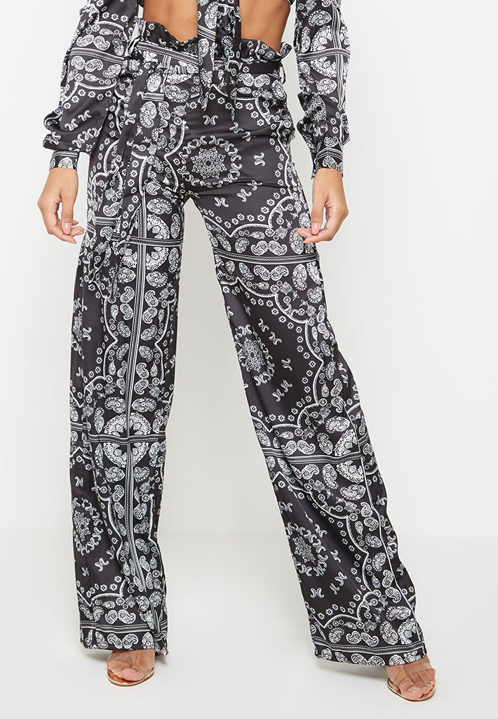 Baroque-Satin-Paperbag-Waist-Trousers-Black