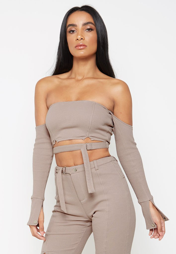 Ribbed-Bardot-Crop-Top-Beige