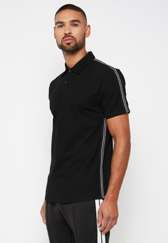 taped-polo-top-black