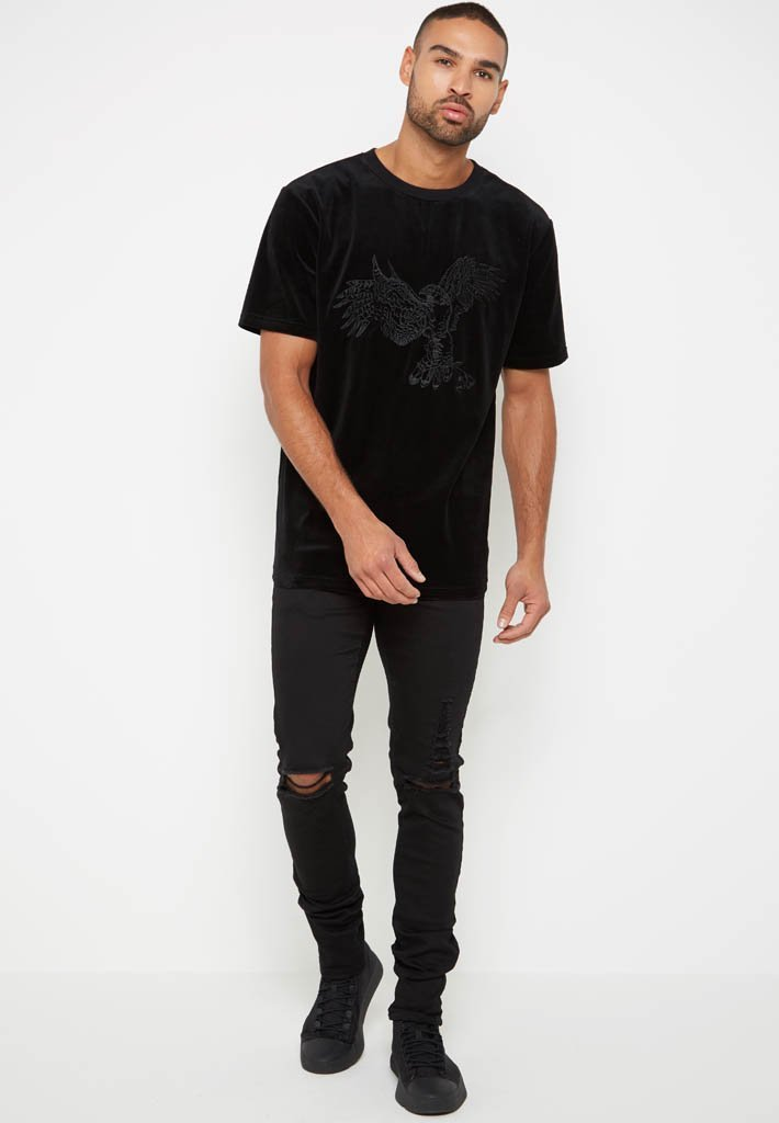 eagle-embroidered-velour-t-shirt-black