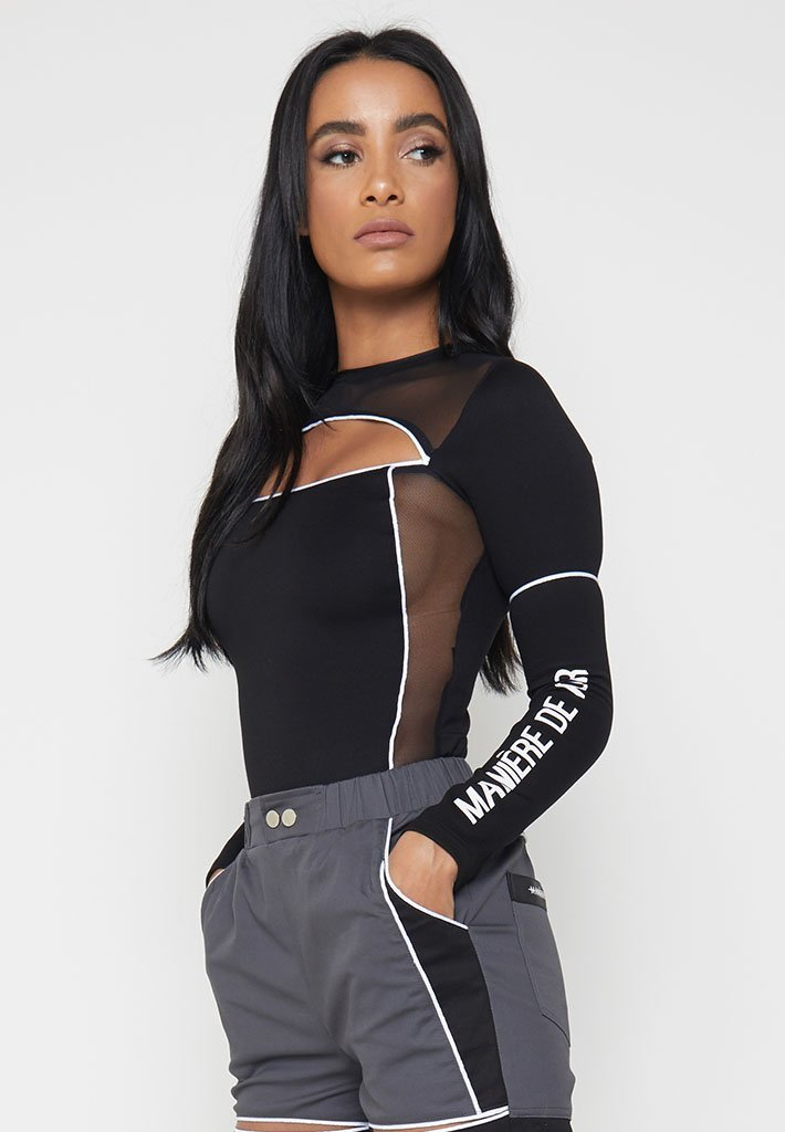 piped-cut-out-mesh-bodysuit-black