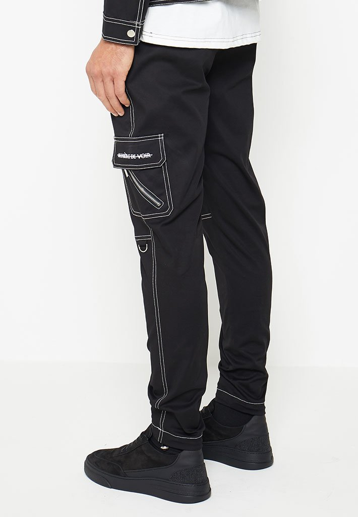 Contrast-Stitch-Cargo-Pants-Black