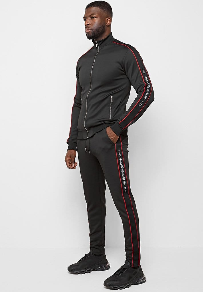 maniere-de-voir-paris-tracksuit-bottoms-black-red