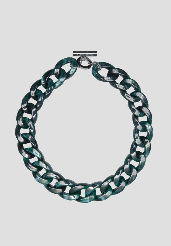 Marbled Cuban Link Necklace - Green