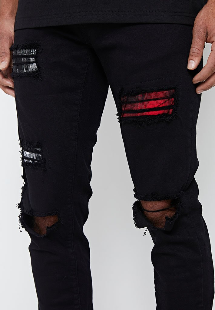 patchwork-check-jeans-black