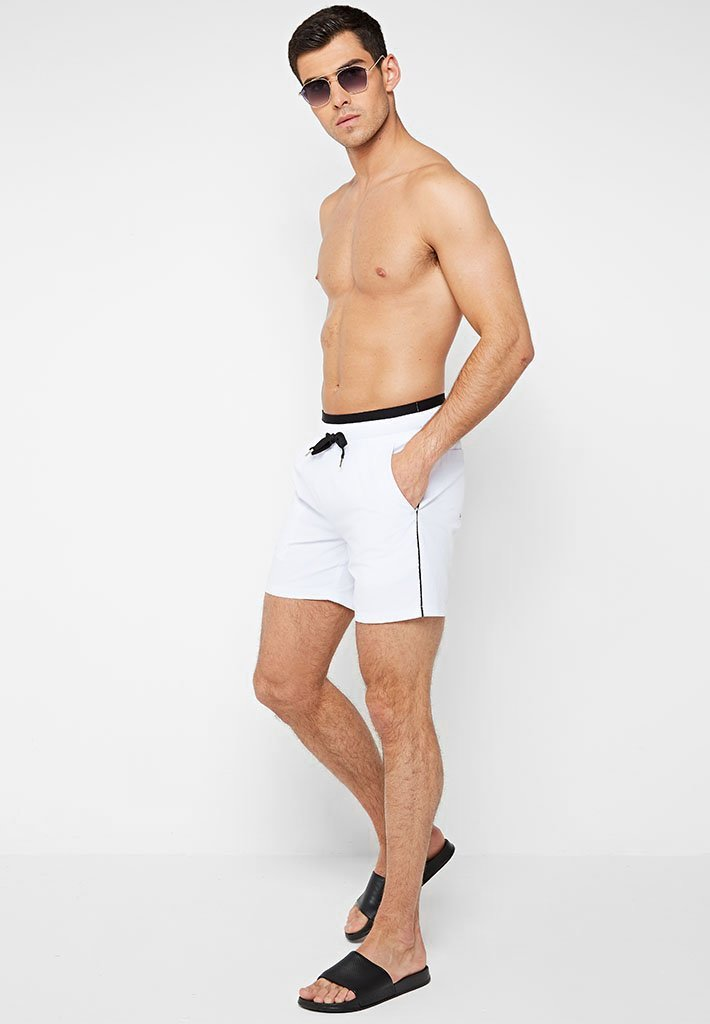 Piped Swim Short With Double Waistband - White