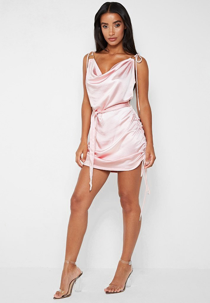 Ruched Satin Cami Dress - Pink