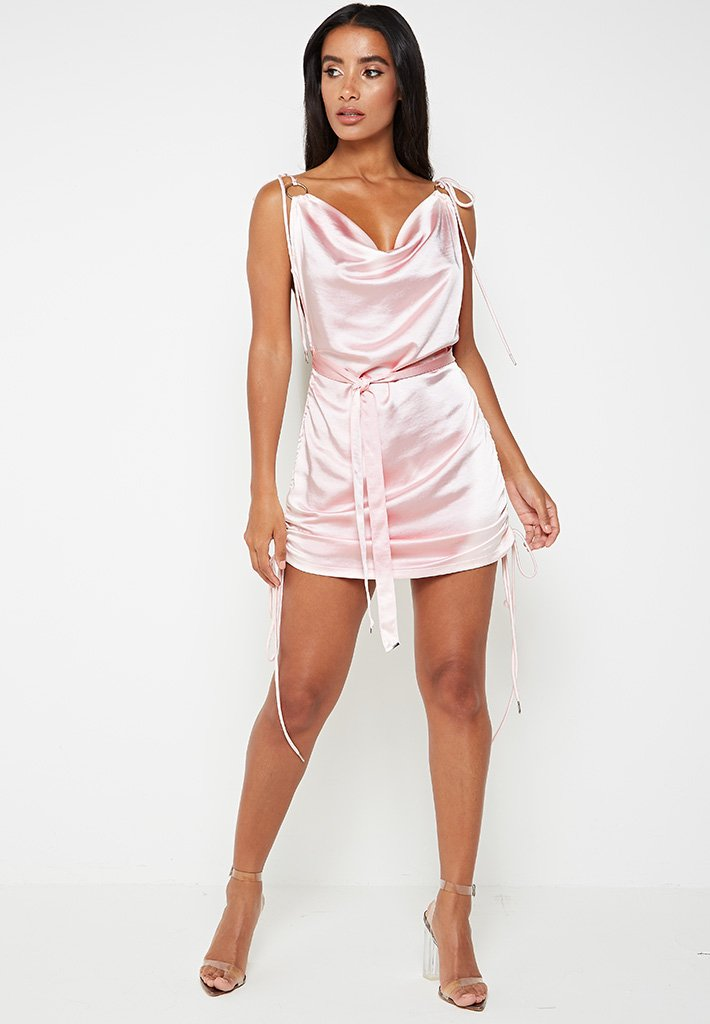 ruched-satin-cami-dress-pink