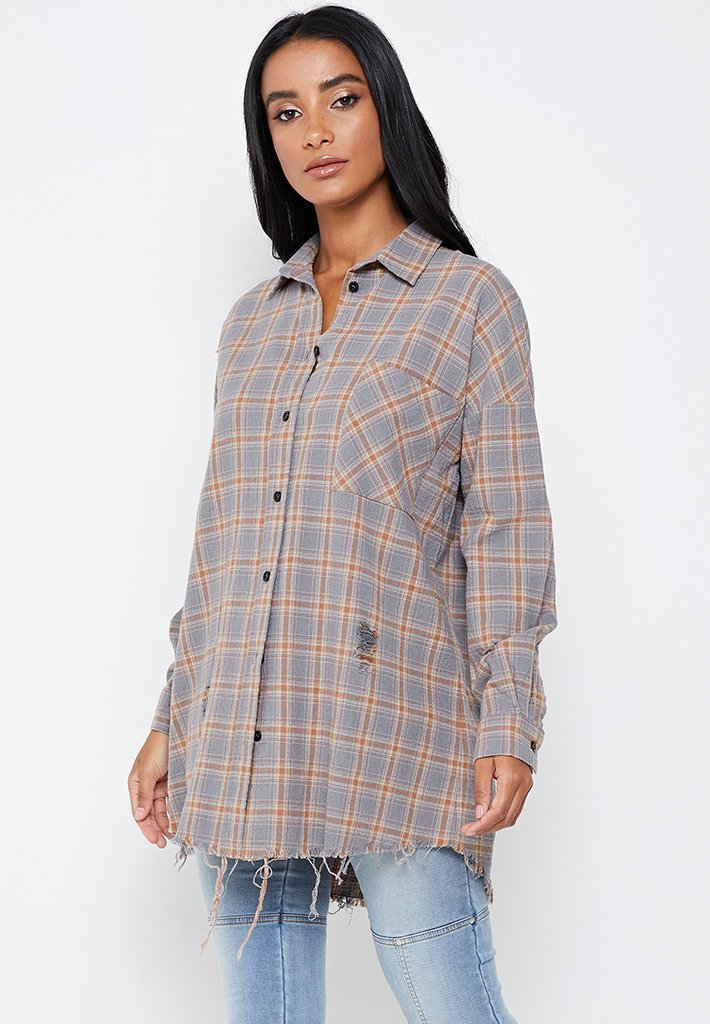 Checked Oversized Shirt With Distressing - Beige