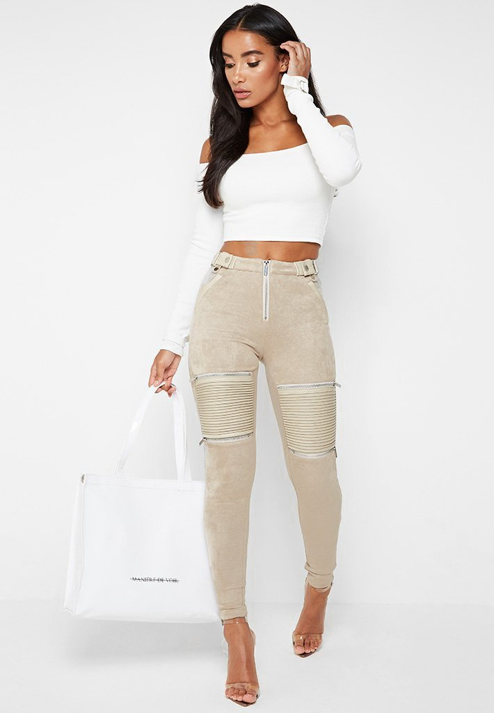 Ribbed Faux Suede Biker Leggings - Beige