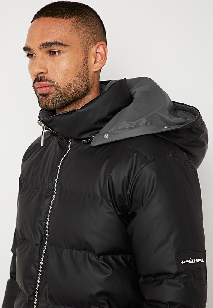 exquisite style exceptional range of styles more photos Reversible Matte Biker Puffer Jacket - Black/Grey