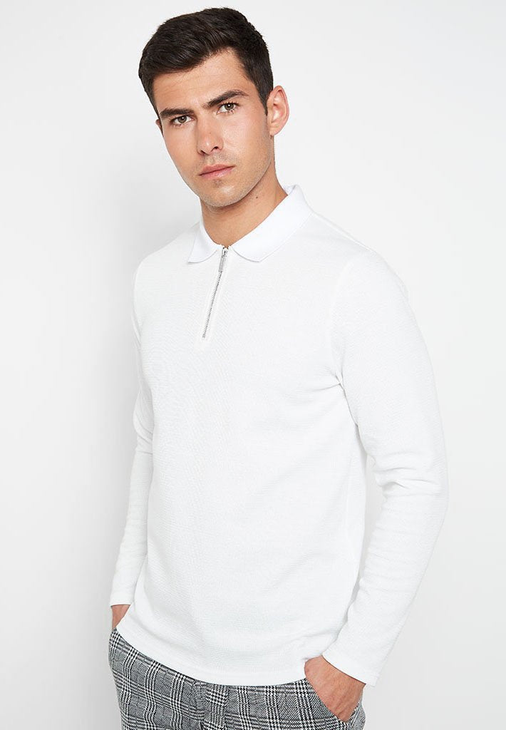 Long Sleeve Knitted Polo Top - White