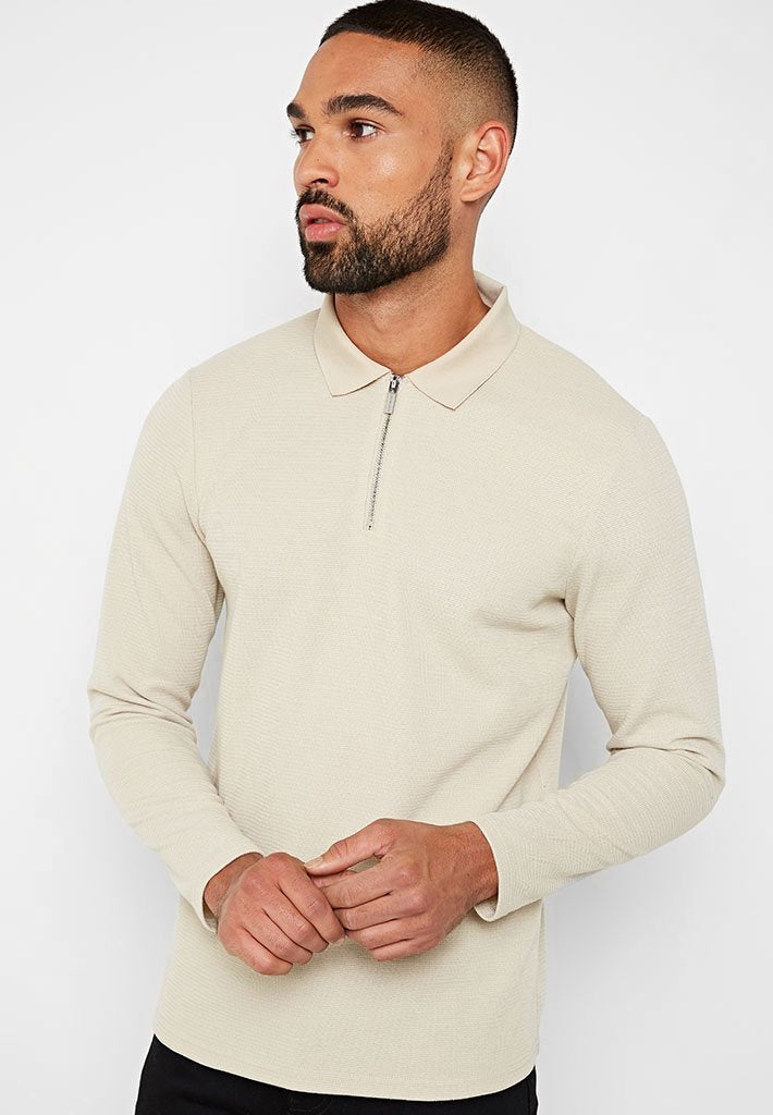Long Sleeve Knitted Polo Top - Beige