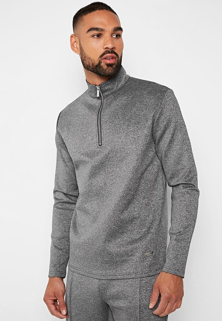 Tailored Half Zip Tracksuit Pullover - Charcoal Grey