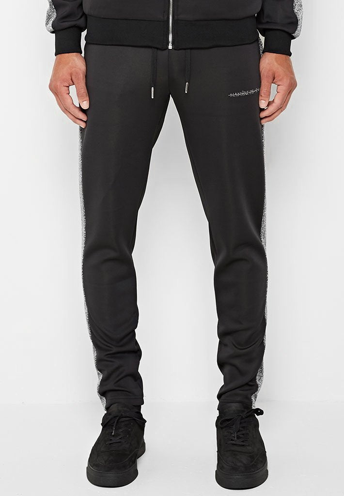Metallic Stripe Tracksuit Bottoms - Black