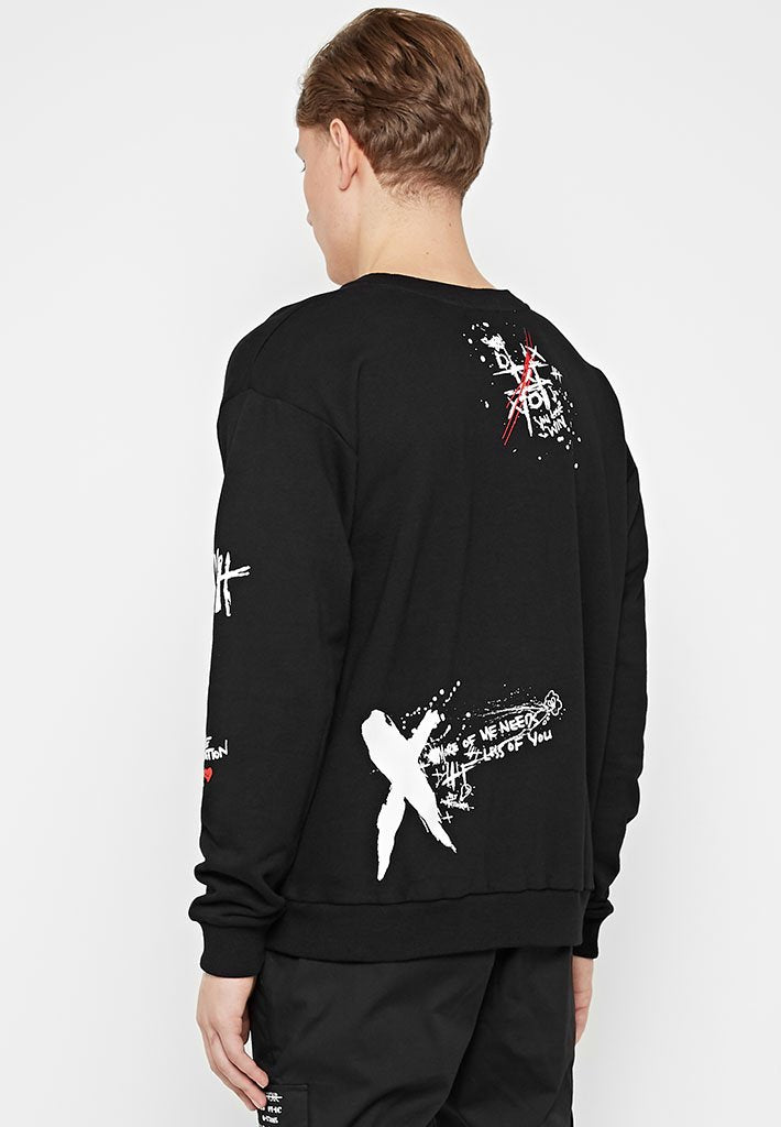 graffiti-print-jumper-black