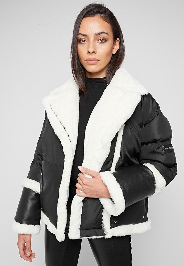 Plush Wrap Puffer Jacket - Black/White