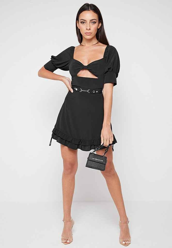 Puff Sleeve Ruched Frill Dress - Black