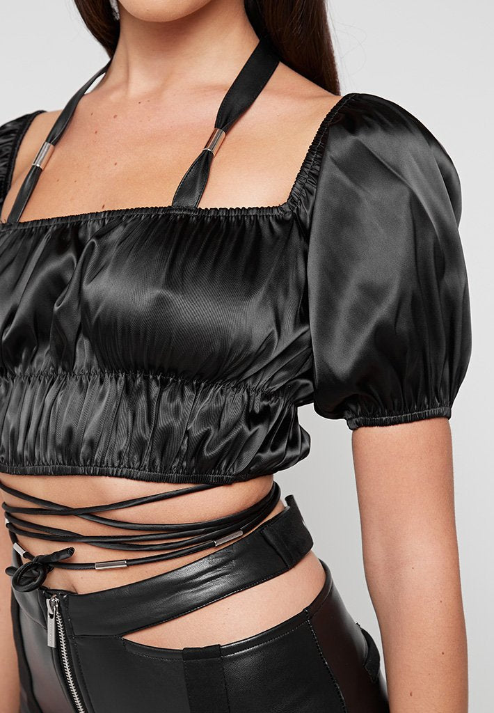 Puff Sleeve Tie Up Crop Top - Black