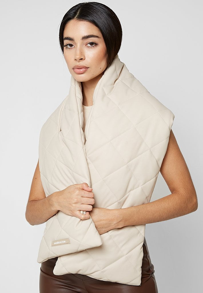 Quilted Puffer Scarf - Beige