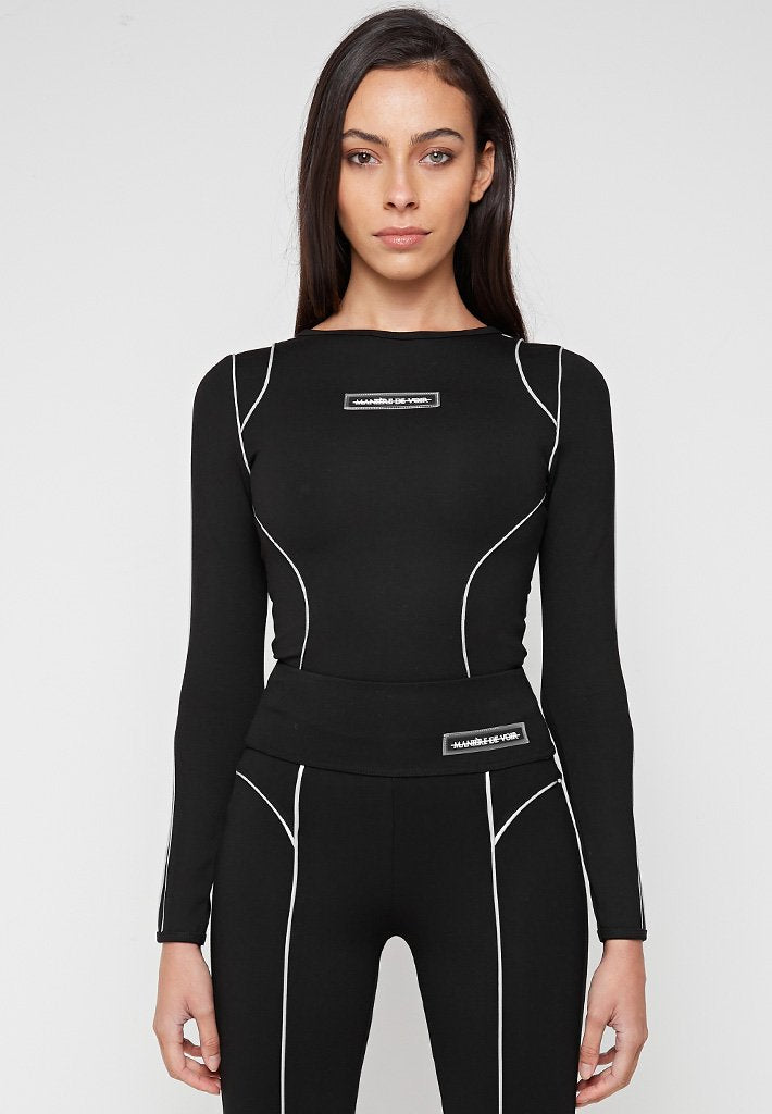 Reflective-Piped-Bodysuit-Black