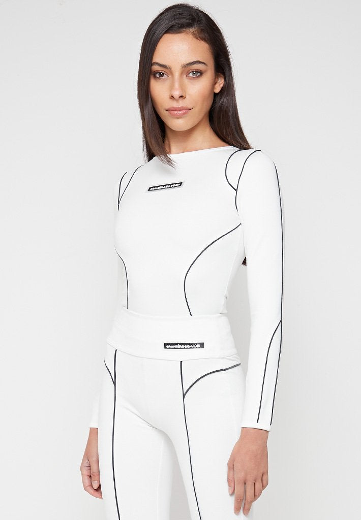 Reflective-Piped-Bodysuit -White