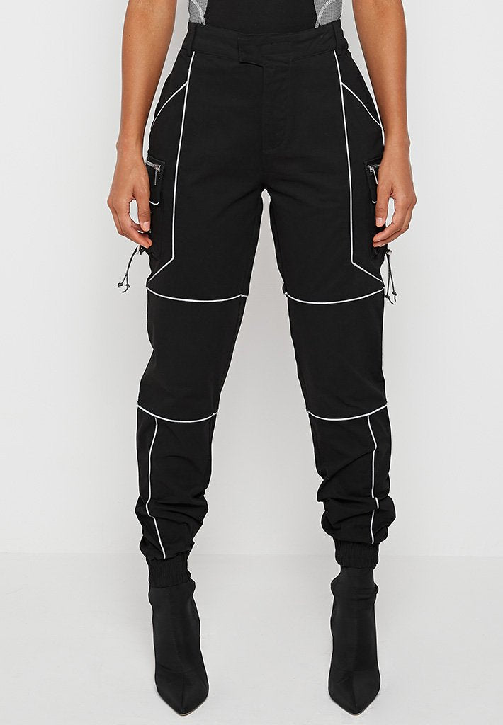 Reflective Piped Cargo Pants - Black