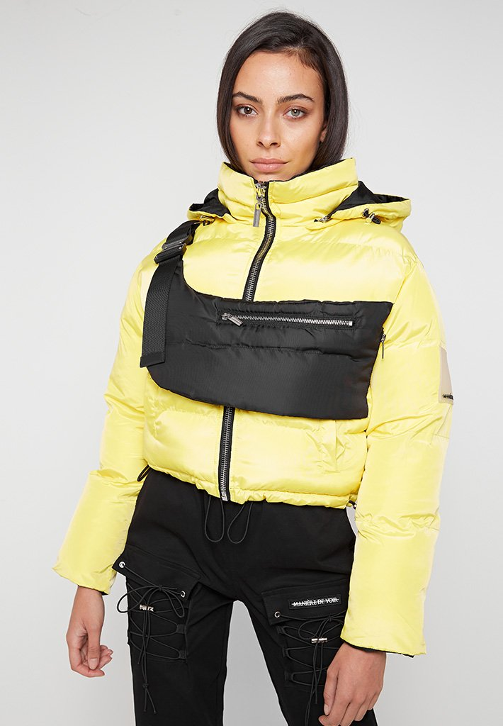 Reversible Puffer Jacket with Detachable Bag - Yellow/Black