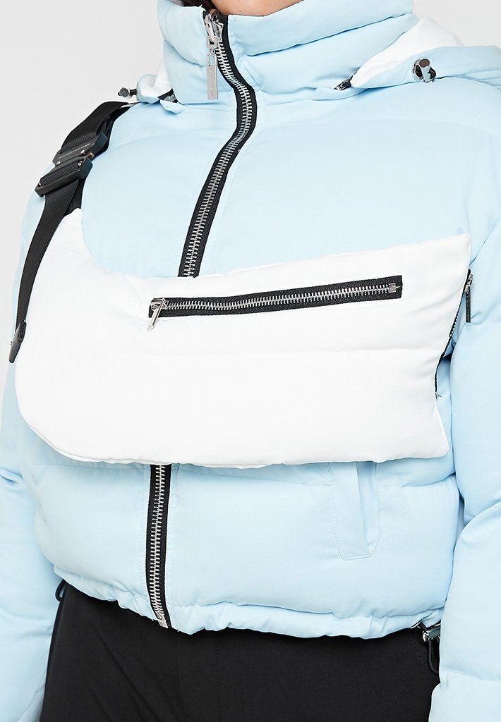 Reversible Puffer Jacket with Detachable Bag - Pale Blue/White