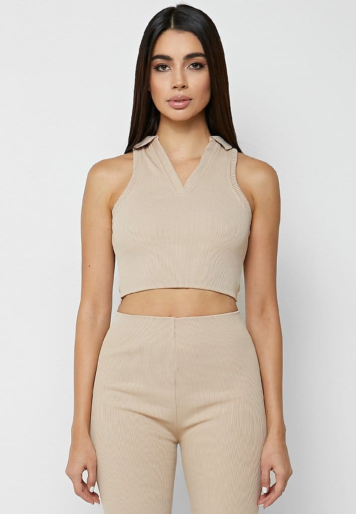 Ribbed Polo Crop Top - Beige