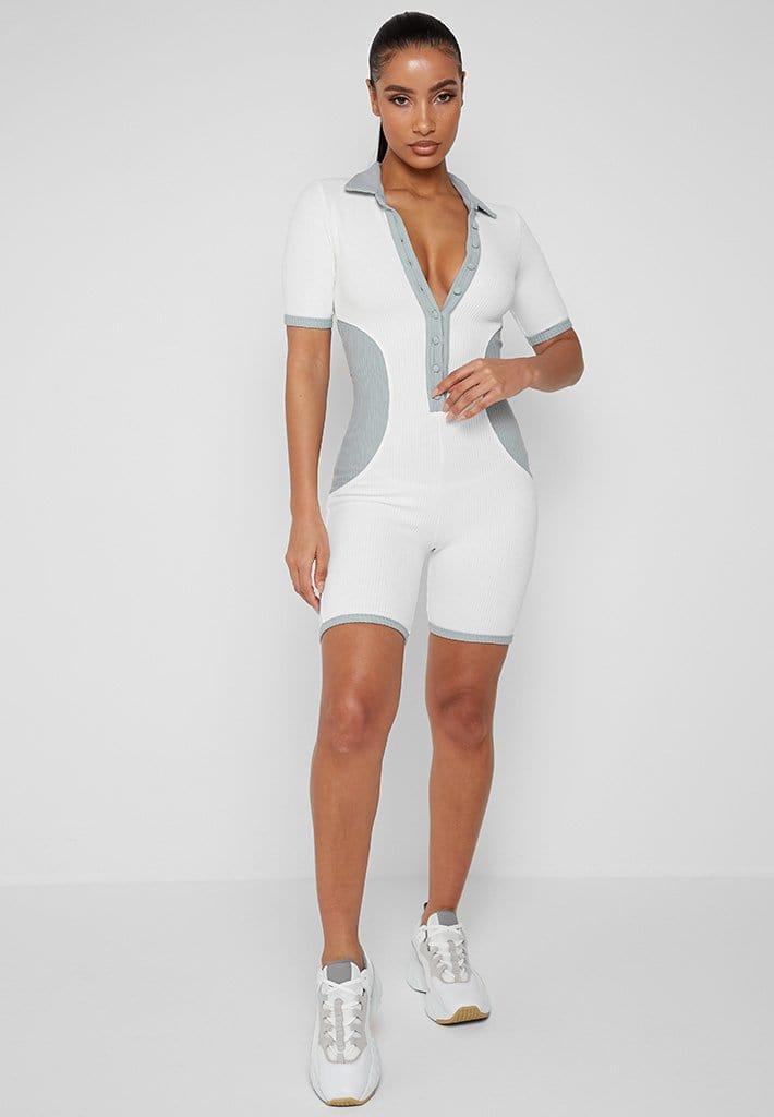 Ribbed Polo Playsuit - White/Pale Blue
