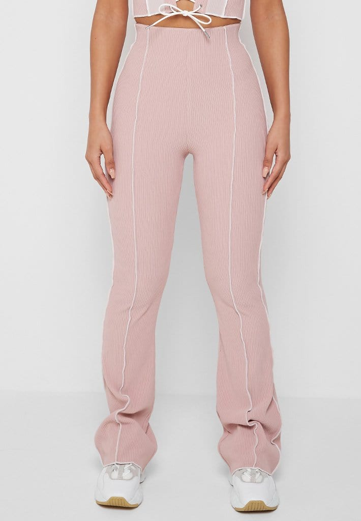 ribbed-raw-seam-flared-trousers-pale-pink