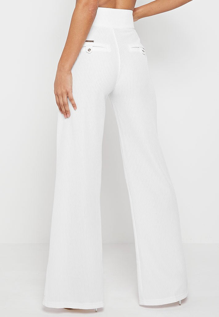 Ribbed Wide Leg Trousers with Chain - White
