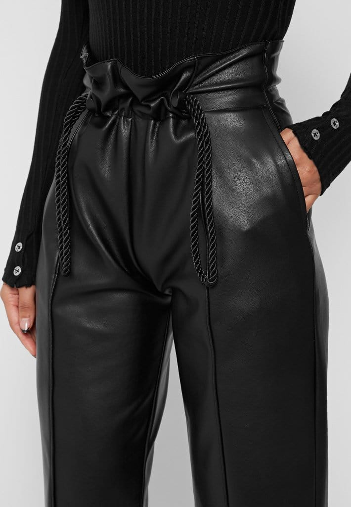 rope-detail-vegan-leather-wide-leg-trousers-black