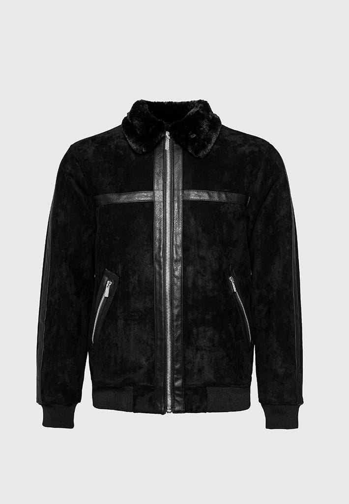Suede Bomber Jacket - Black
